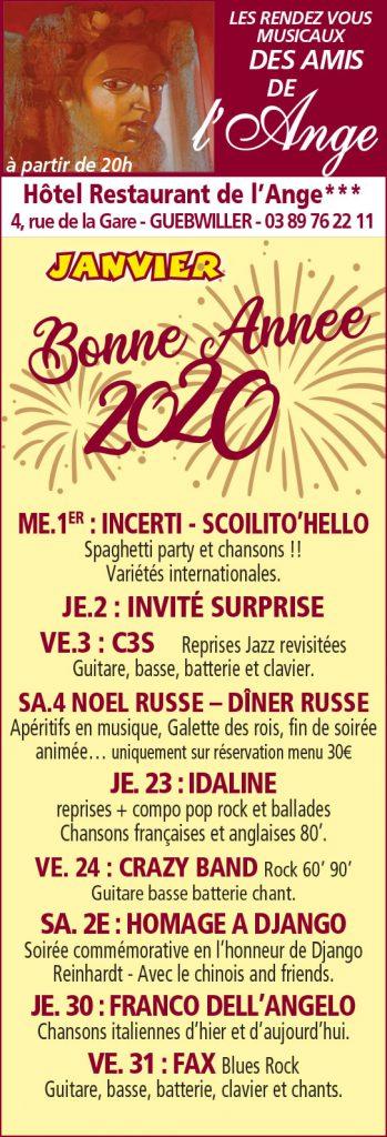 Janvier 2020 - événements à l'hotel de l'Ange